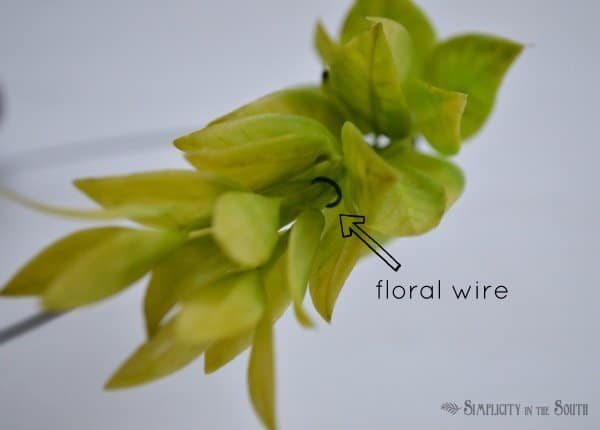 floral wire placement for wreath